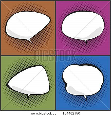 Set of Speech Bubbles on Background with Black Dots , Four Speech Bubbles on Pop Art Background, Speech Bubble on Halftone Background, Conversation, Retro Style, Vector Illustration