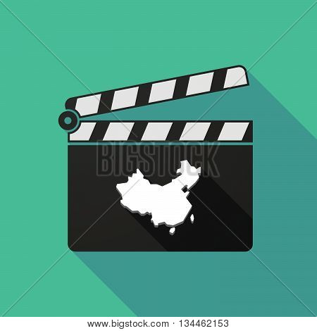Long Shadow Clapperboard With  A Map Of China