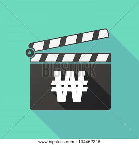 Long Shadow Clapperboard With A Won Currency Sign