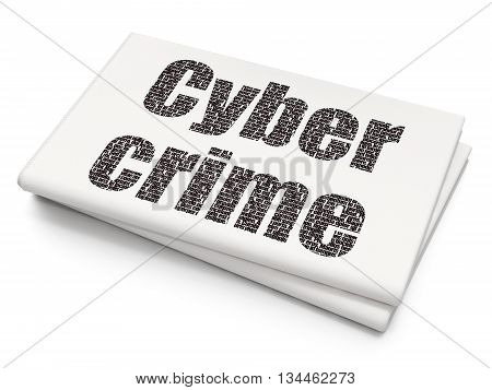Security concept: Pixelated black text Cyber Crime on Blank Newspaper background, 3D rendering