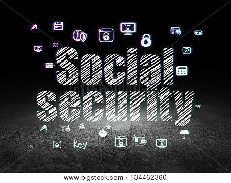 Safety concept: Glowing text Social Security,  Hand Drawn Security Icons in grunge dark room with Dirty Floor, black background