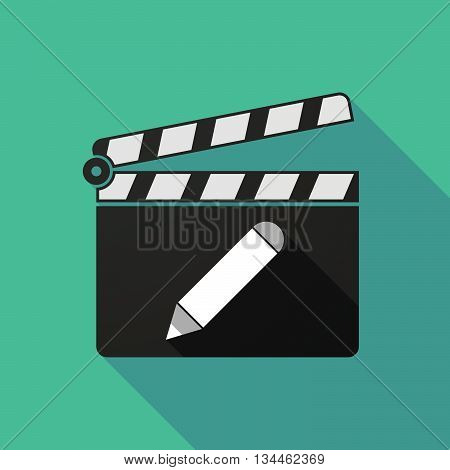 Long Shadow Clapperboard With A Pencil