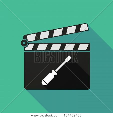 Long Shadow Clapperboard With A Screwdriver