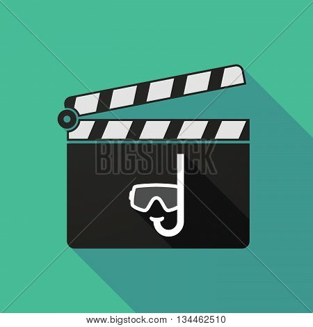 Long Shadow Clapperboard With A Diving Goggles