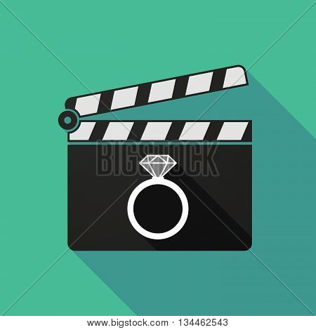 Long Shadow Clapperboard With An Engagement Ring