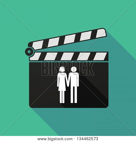 Long Shadow Clapperboard With A Heterosexual Couple Pictogram