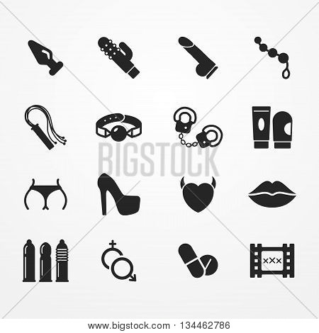 Collection of sex shop icons, silhouette style, sex shop vector stock image, collection of typical sex shop symbols - adult toy, condom, handcuff, pills, underwear