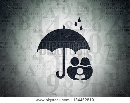 Security concept: Painted black Family And Umbrella icon on Digital Data Paper background with  Hexadecimal Code