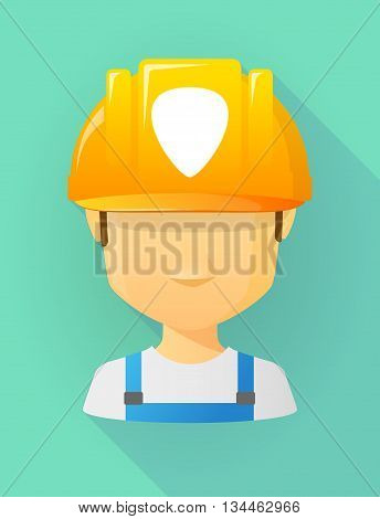 Worker Male Avatar Wearing A Safety Helmet With A Plectrum