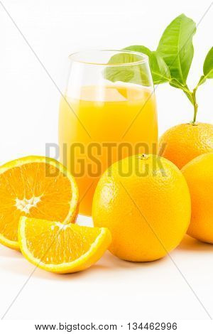 Orange Juice And Oranges Fruit Isolated On White Background