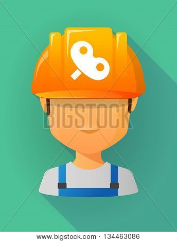 Worker Male Avatar Wearing A Safety Helmet With A Toy Crank