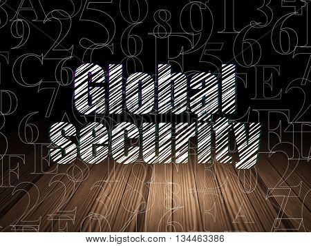 Privacy concept: Glowing text Global Security in grunge dark room with Wooden Floor, black background with  Hexadecimal Code