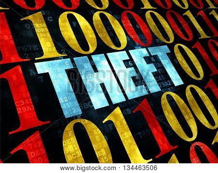 Safety concept: Pixelated blue text Theft on Digital wall background with Binary Code
