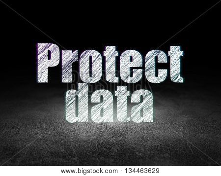 Safety concept: Glowing text Protect Data in grunge dark room with Dirty Floor, black background