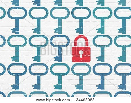 Security concept: rows of Painted blue key icons around red closed padlock icon on White Brick wall background