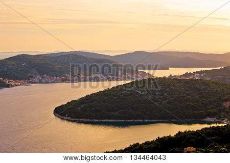 Murter island archipelago sunset view Dalmatia Croatia