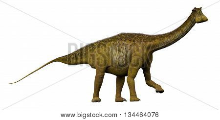 Nigersaurus Side Profile 3D Illustration - Nigersaurus was a sauropod herbivorous dinosaur that lived in the Republic of Niger Africa during the Cretaceous Period.