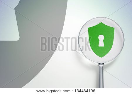 Protection concept: magnifying optical glass with Shield With Keyhole icon on digital background, empty copyspace for card, text, advertising, 3D rendering