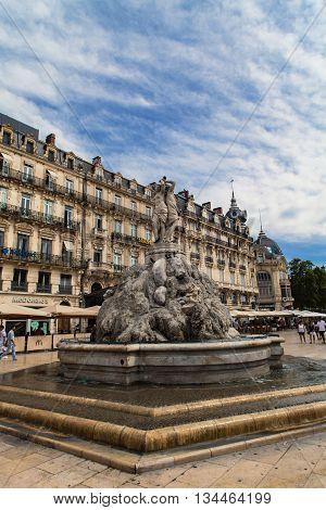The Three Graces Fountain At Place De La Comedie