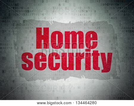 Security concept: Painted red text Home Security on Digital Data Paper background with   Tag Cloud