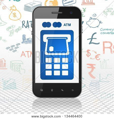 Currency concept: Smartphone with  blue ATM Machine icon on display,  Hand Drawn Finance Icons background, 3D rendering