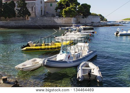 Boats At Hvar Island In Croatia