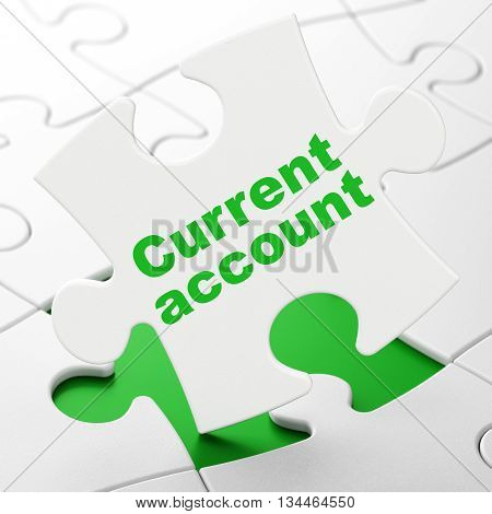 Currency concept: Current Account on White puzzle pieces background, 3D rendering