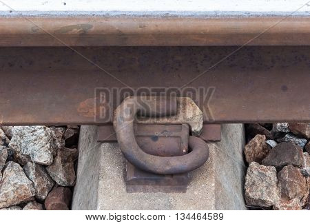 Rusty steel peg for attach the new rail and the concrete sleeper.