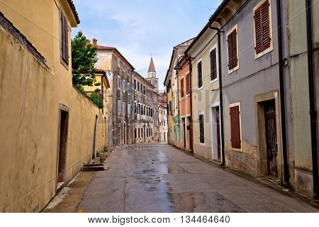 Old stone street of Buje town in Istria Croatia