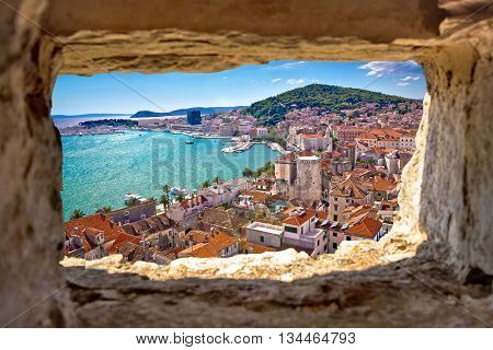 Split bay aerial view through stone window Dalmatia Croatia