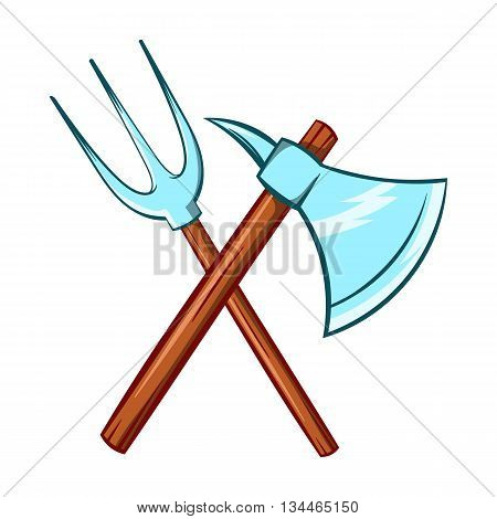 Ancient axe and trident icon in cartoon style on a white background