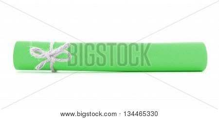Green paper scroll tied with cord left natural node isolated