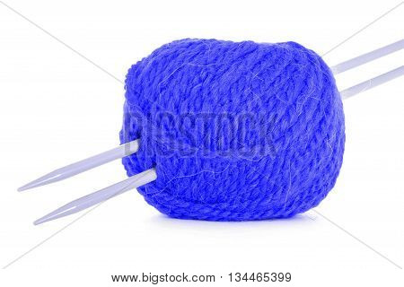 Clew of thread tangled twine isolated on white background
