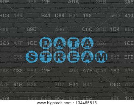 Information concept: Painted blue text Data Stream on Black Brick wall background with Hexadecimal Code