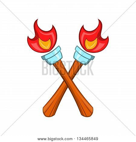 Crossed flaming torches icon in cartoon style on a white background