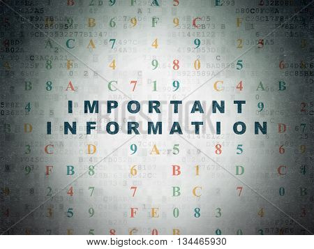 Information concept: Painted blue text Important Information on Digital Data Paper background with Hexadecimal Code