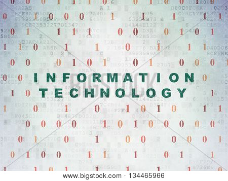 Information concept: Painted green text Information Technology on Digital Data Paper background with Binary Code
