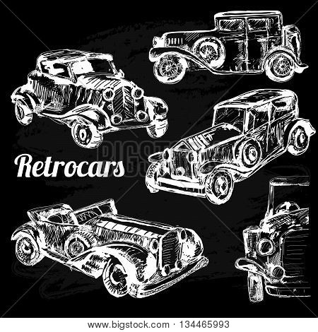 Retro car sketch for your design. Vector illustration. Collection of retro sketch cars on chalkboard