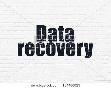 Data concept: Painted black text Data Recovery on White Brick wall background