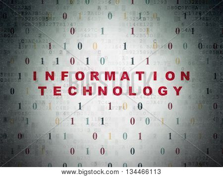 Data concept: Painted red text Information Technology on Digital Data Paper background with Binary Code