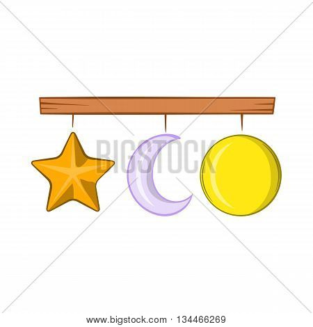 Crib mobile icon in cartoon style on a white background