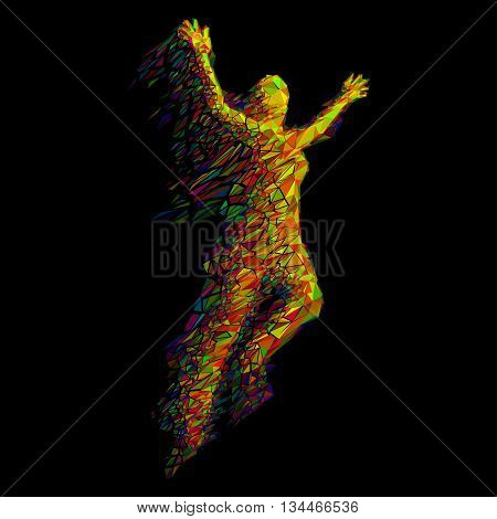 Jumping Woman From Color Triangles on Black