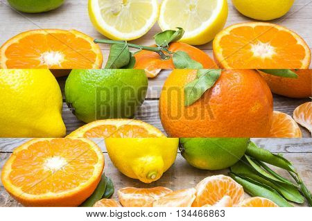 several mature citrus on a wooden table - lemon, lime and tangerine