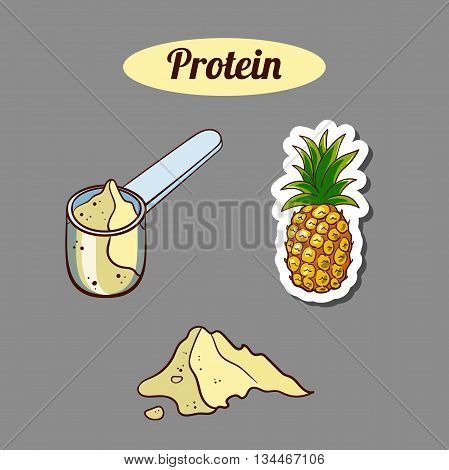 Plastic scoop with pineapple protein powder on gray background. Sport nutrition. Vector illustration.