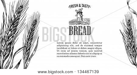 Vintage vector engraving illustration for logotype, label, poster, corporate identity, badges, brochures, presentations, flayer for bakery shop.