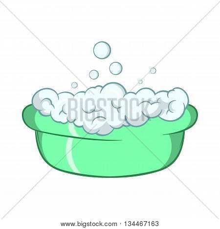 Green baby bath with foam icon in cartoon style on a white background
