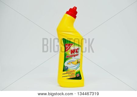 Berezovitsa, Ukraine - Circa June, 2016: Toilet Cleaner Bottle Wc Reiniger