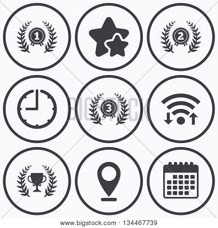 Clock, wifi and stars icons. Laurel wreath award icons. Prize cup for winner signs. First, second and third place medals symbols. Calendar symbol.