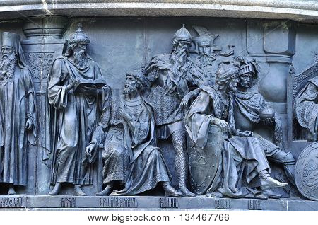 VELIKY NOVGOROD RUSSIA - JUNE 14 2016. Sculptural group Statesmen at the monument Millennium of Russia