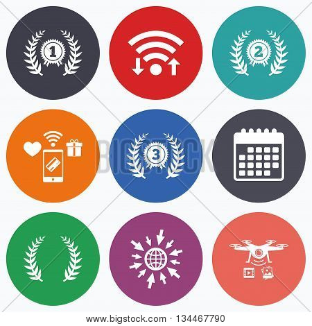 Wifi, mobile payments and drones icons. Laurel wreath award icons. Prize for winner signs. First, second and third place medals symbols. Calendar symbol.